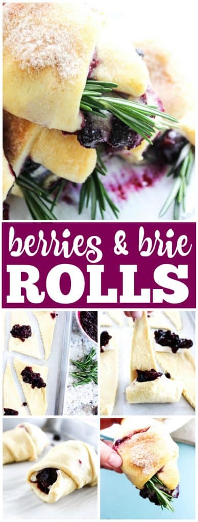 BERRIES & BRIE CRESCENT ROLLS, brie cheese with fresh berries and rosemeary
