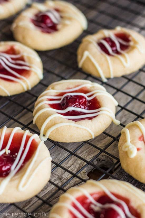 Cherry Pie Cookies - soft cookies with cherry pie filling drizzled with white chocolate