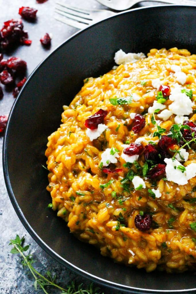 PUMPKIN RISOTTO WITH GOAT CHEESE & DRIED CRANBERRIES
