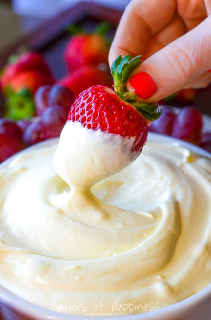 Best Fruit Dip strawberries, cool whip, vanilla pudding mix, and yogurt dip