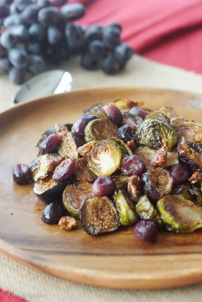 BALSAMIC ROASTED BRUSSEL SPROUTS WITH GRAPES & FIGS