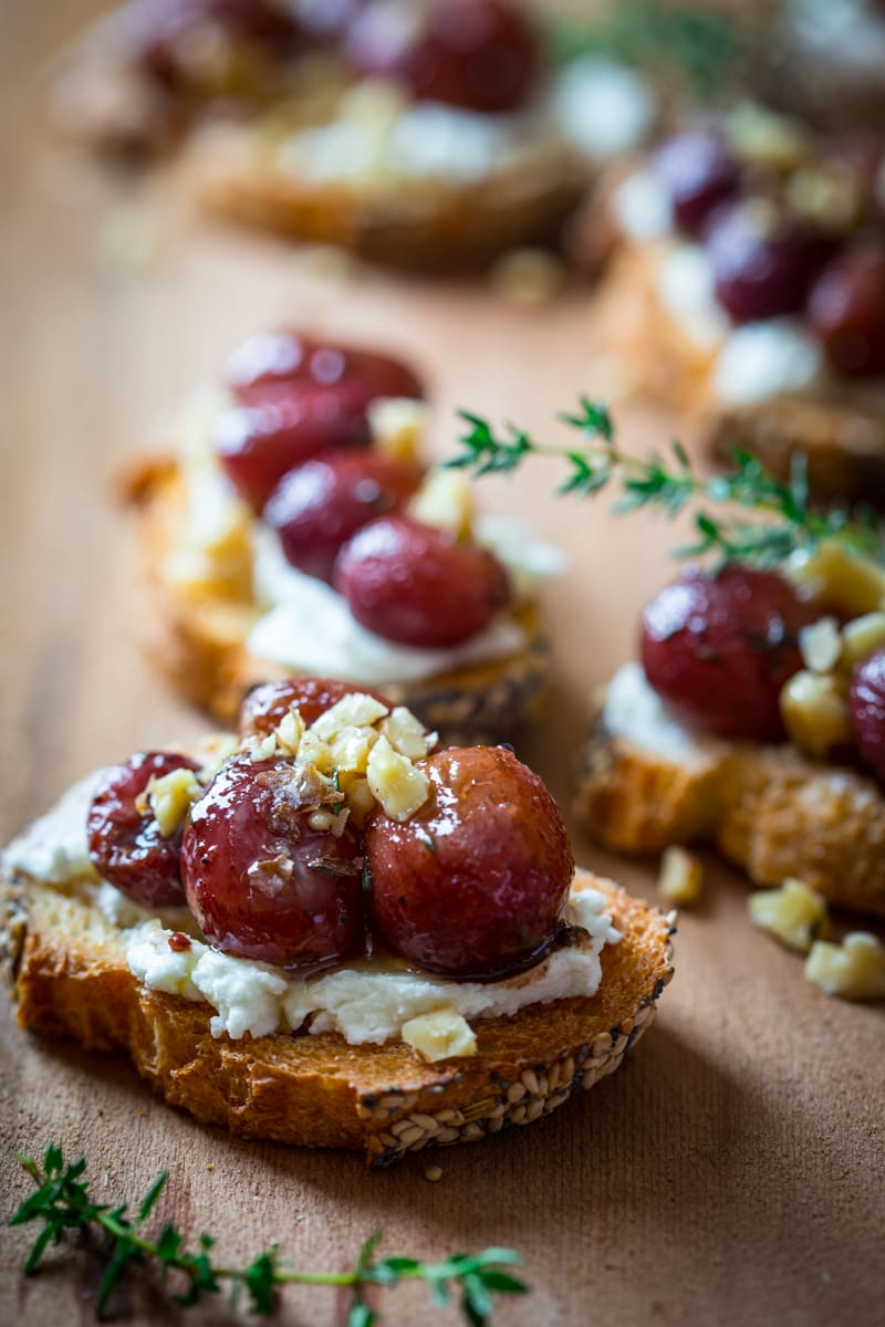 Roasted Grape Crostini goat cheese walnuts thyme