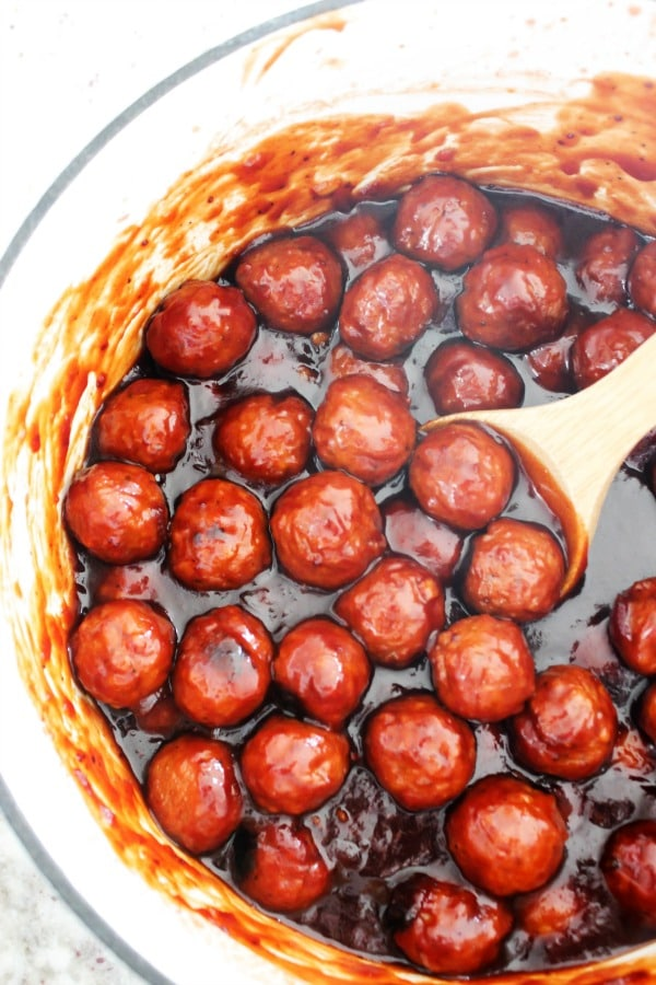 meatballs, barbecue sauce, 30 minute recipe, white pot, wooden spoon, appetizer