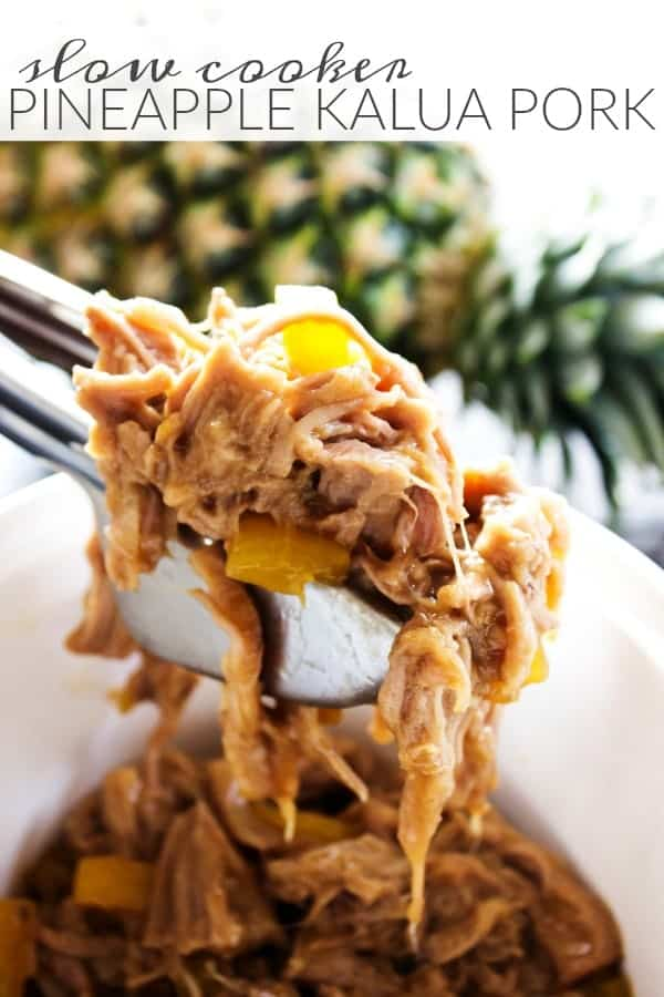 Slow Cooker Pineapple Kalua Pork - a sweet & smokey pulled pork.