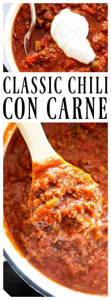 CLASSIC CHILI CON CARNE a hearty chili made with beef, onions, salsa, tomato sauce and green chiles.