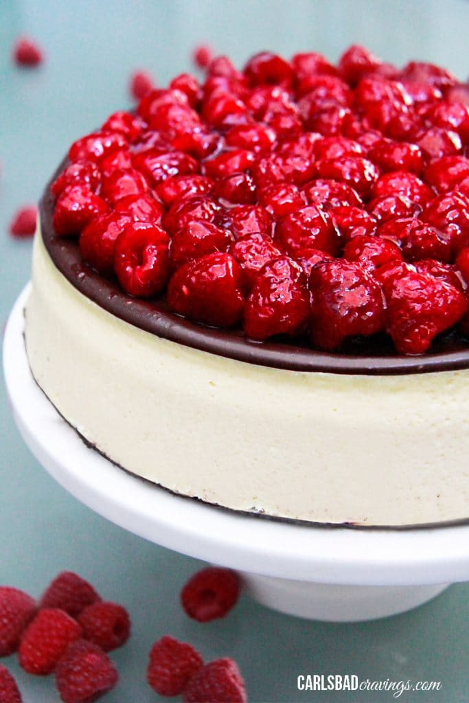Raspberry Chocolate Ganache Cheesecake
