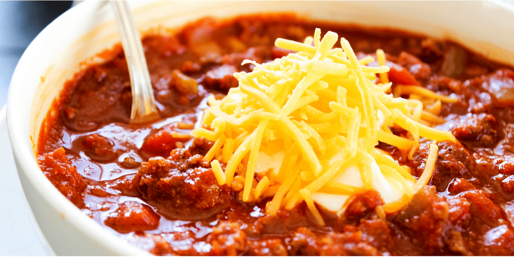 Classic Chili Con Carne a heartychili made with beef, onions, salsa, tomato sauce and green chiles.