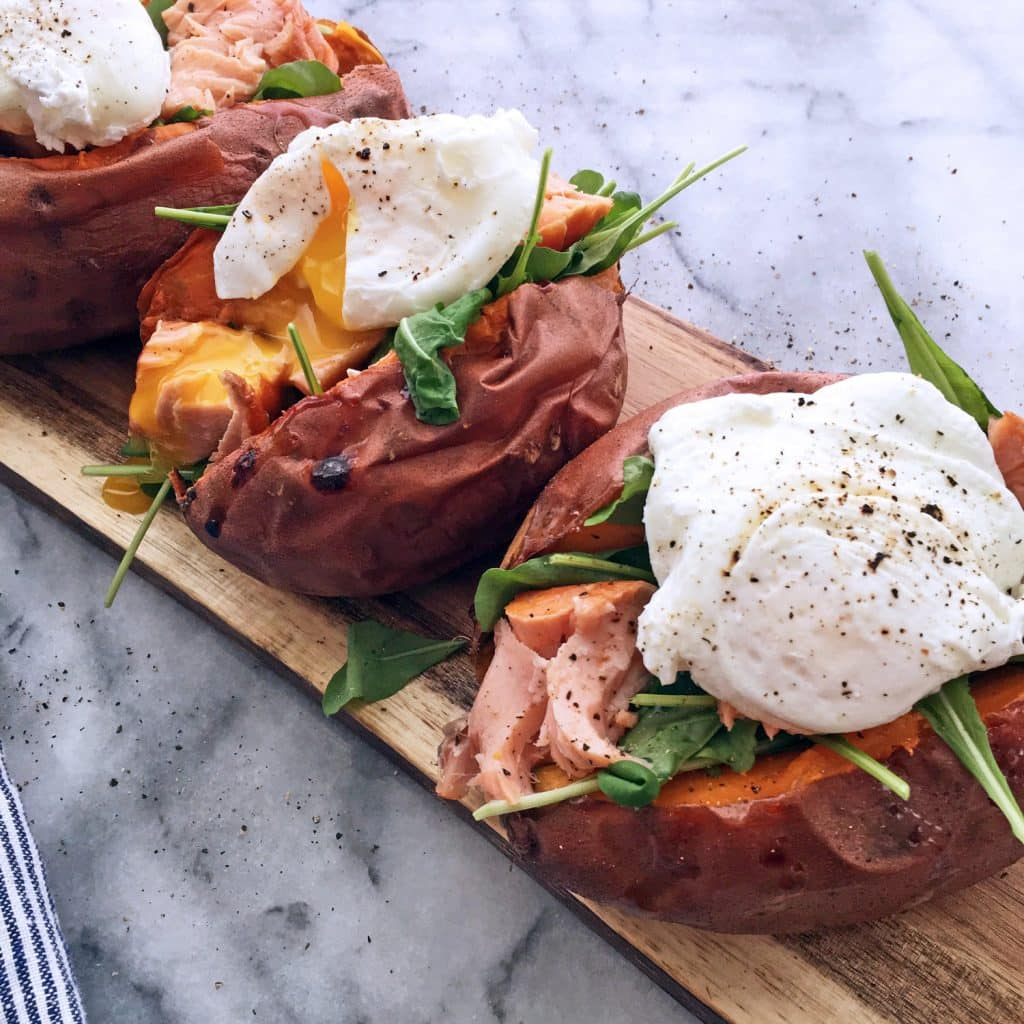 BAKED SWEET POTATO WITH ARUGULA, SMOKED SALMON AND POACHED EGGS