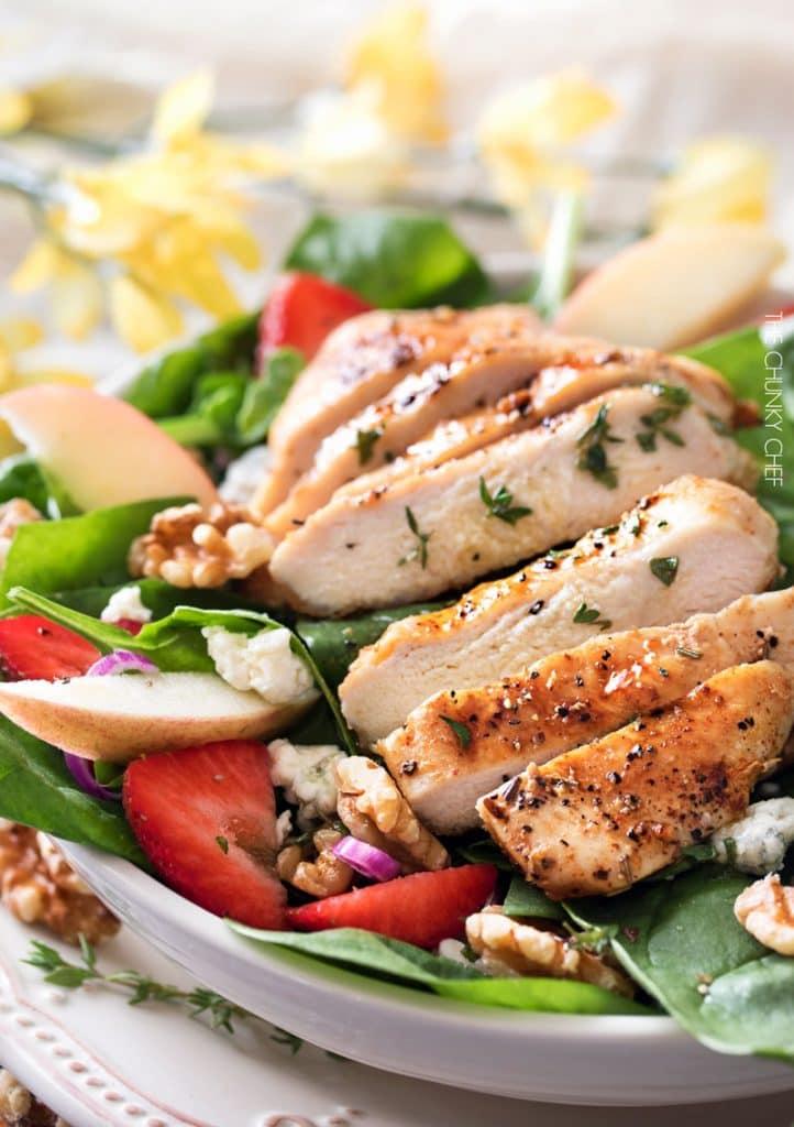 Grilled Chicken Strawberry Spinach Salad