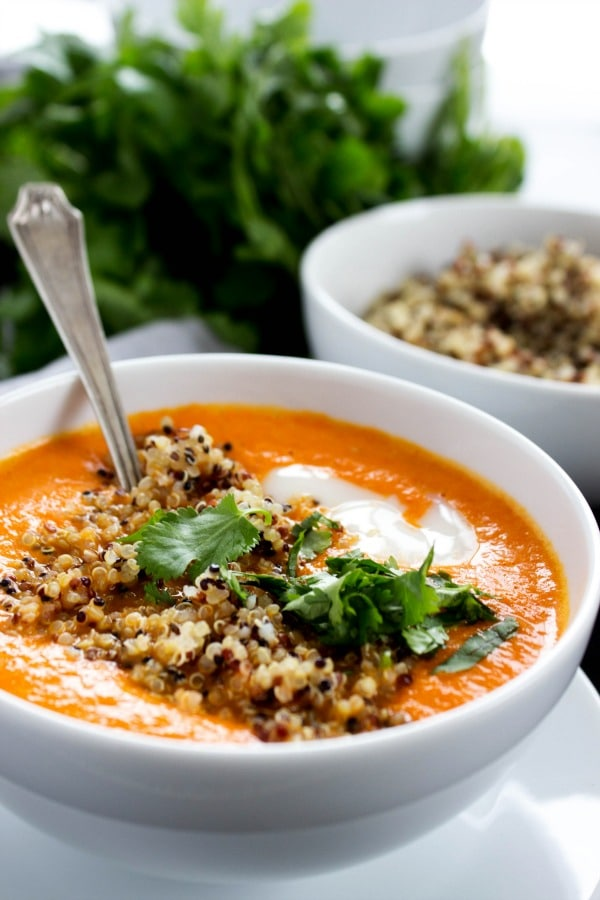 Thai Curry Red Pepper Quinoa Soup is an easy 30-minute meal made with red curry, coconut milk and quinoa. Skip take-out and make this healthy twist instead.