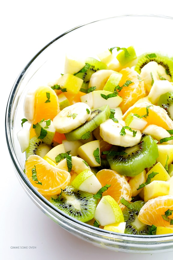 EASY WINTER FRUIT SALAD, mint, kiwi, bananas, oranges