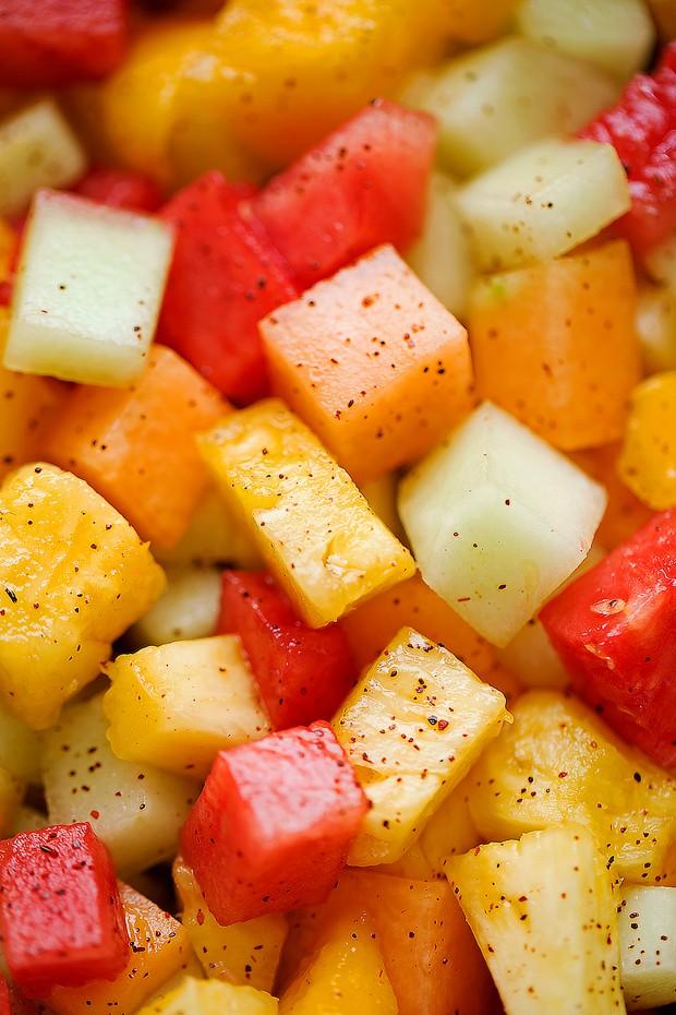 MEXICAN FRUIT SALAD, pineapple, watermelon, honeydew melon, watermelon