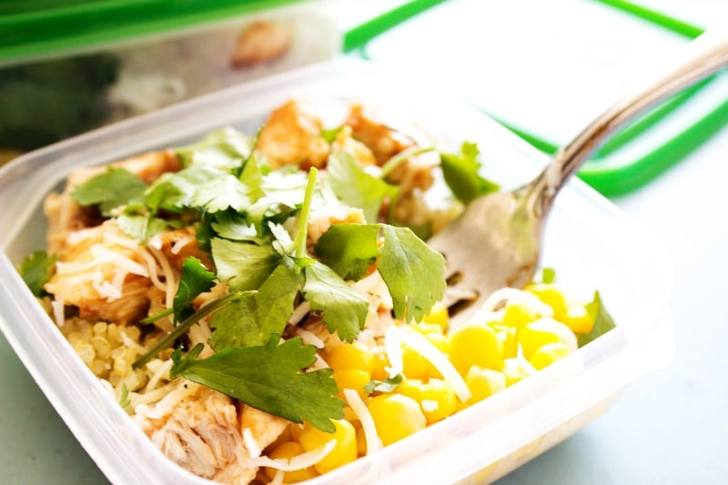 BAKED BARBECUE CHICKEN & QUINOA BOWLS - Tupperware, blue table, metal fork