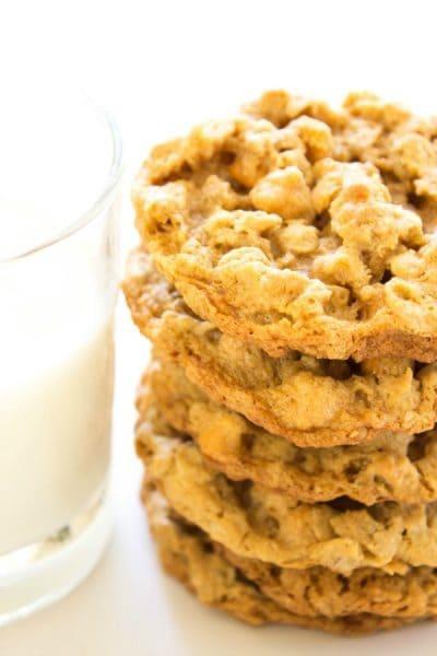 Chewy Oatmeal Peanut Butter Butterscotch Cookies