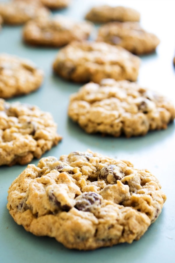 CHEWY OATMEAL PEANUT BUTTER CHOCOLATE CHIP COOKIES - Baked cookies on blue board
