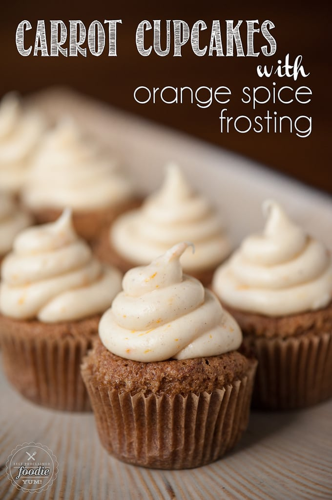 CARROT CUPCAKES WITH ORANGE SPICE FROSTING