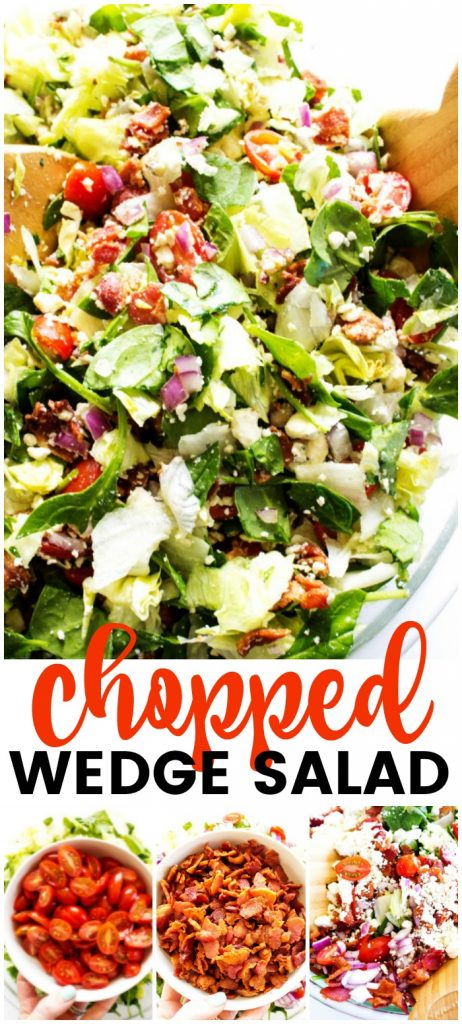 Chopped Wedge Salad is a simple green salad, fully loaded with bacon & blue cheese. Dress it up or down, either way, the entire family will love this salad.