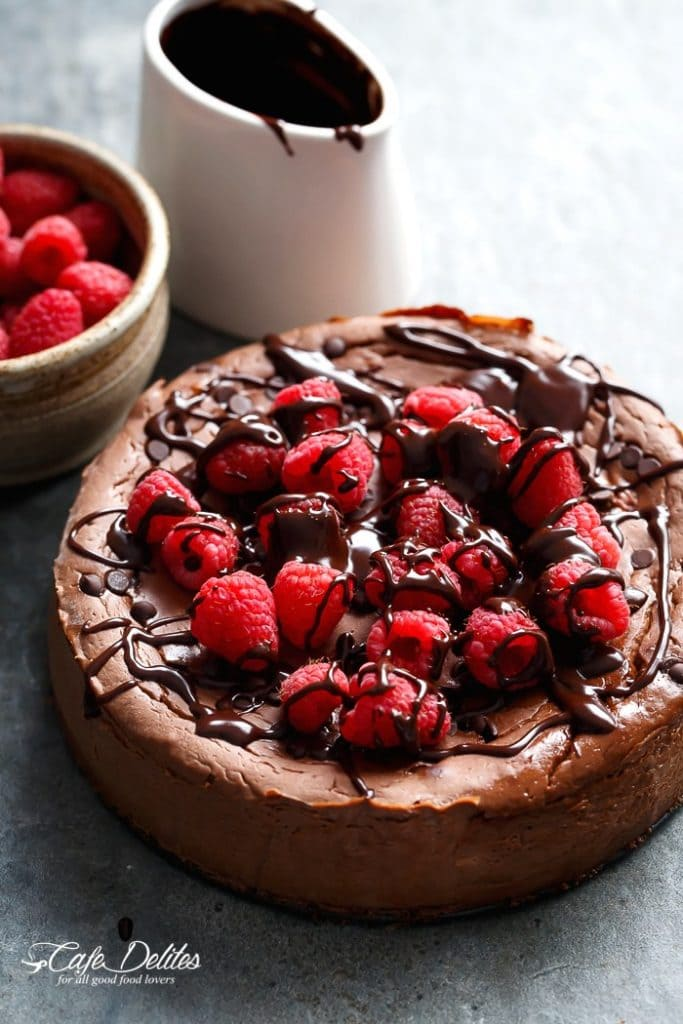 CRUSTLESS CHOCOLATE RASPBERRY CHEESECAKE