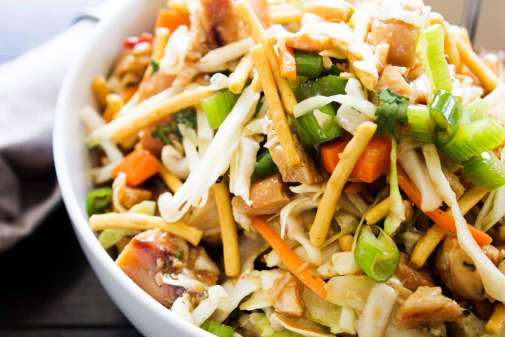 Chopped Asian Salad close up in bowl