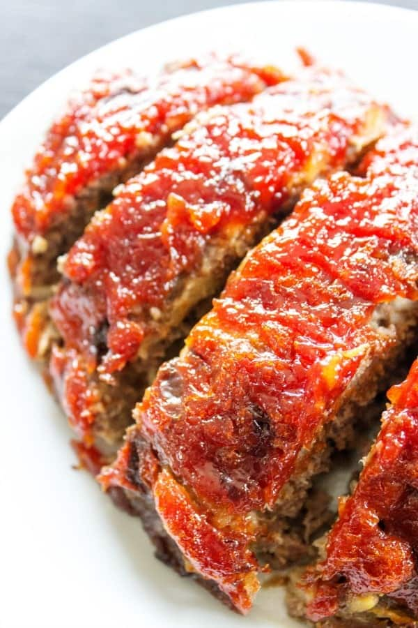 BROWN SUGAR MEATLOAF - White plate, grey table