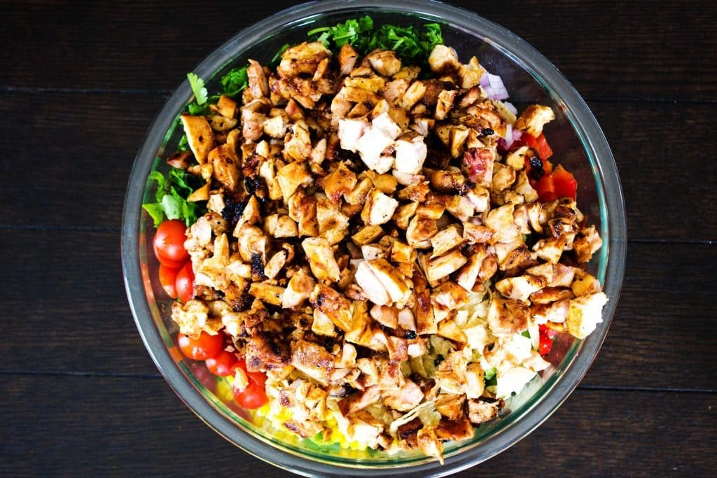 CREAMY BBQ RANCH CHICKEN SALAD- Glass bowl, wooden table