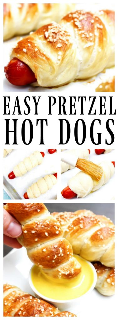 EASY PRETZEL HOT DOGS RECIPE baked and topped with kosher salt and dipped in honey mustard sauce
