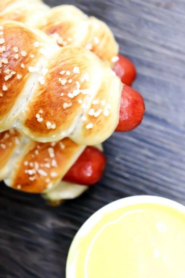 EASY PRETZEL HOT DOGS RECIPE with honey mustard sauce