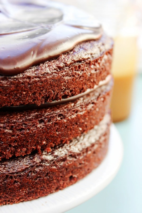 Sweet & Salty Chocolate Layer Cake - layers of rich buttermilk chocolate cake & ganache, drizzled with a salted caramel sauce & topped with coarse sea salt.