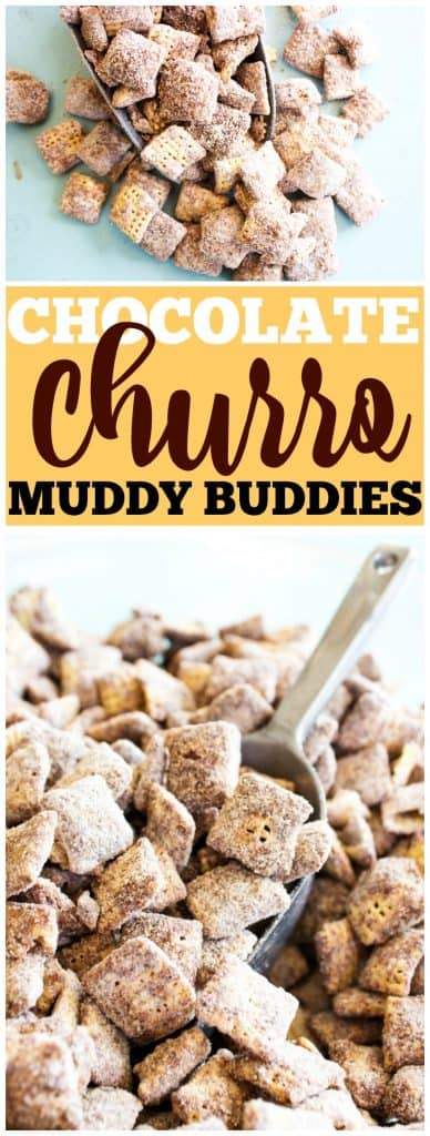 chocolate churro muddy buddies, churro, scope, cinnamon, chocolate