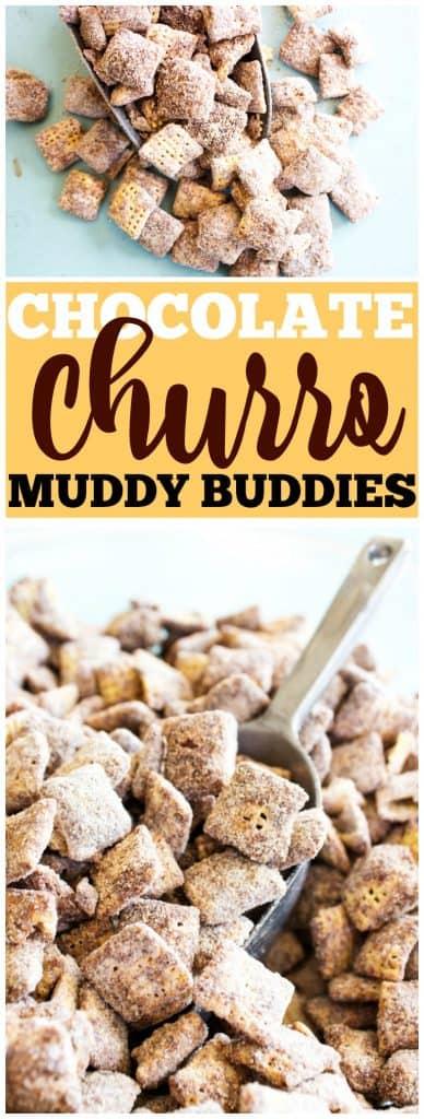 chocolate churro muddy buddies, churro, scope, cinnamon, chocolate