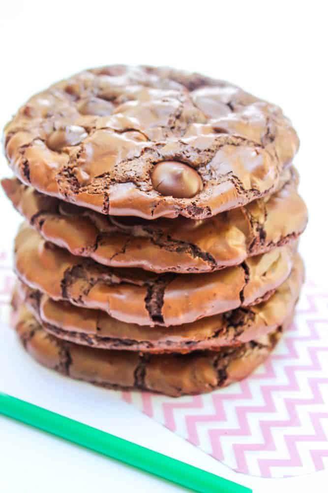 chewy flourless chocolate cookies, starbucks, green straw, stack of chocolate cookies
