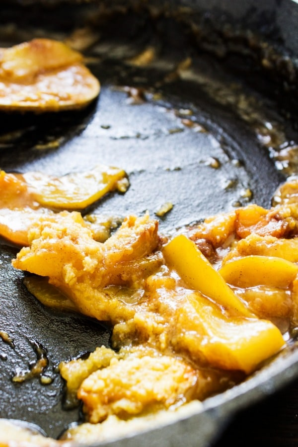 BEST EVER PEACH COBBLER RECIPE. Caste iron skillet, peach cobbler