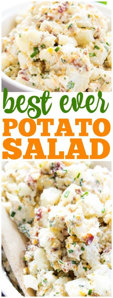 BEST EVER POTATO SALAD RECIPE, bacon, chives, cheddar cheese in white bowl with wooden spoon