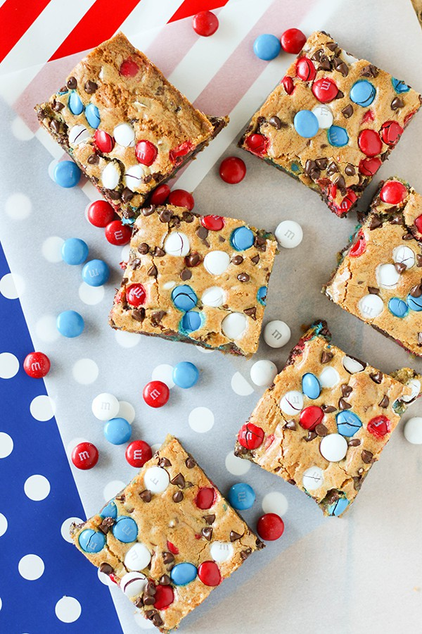 RED, WHITE & BLUE M&M COOKIE BARS
