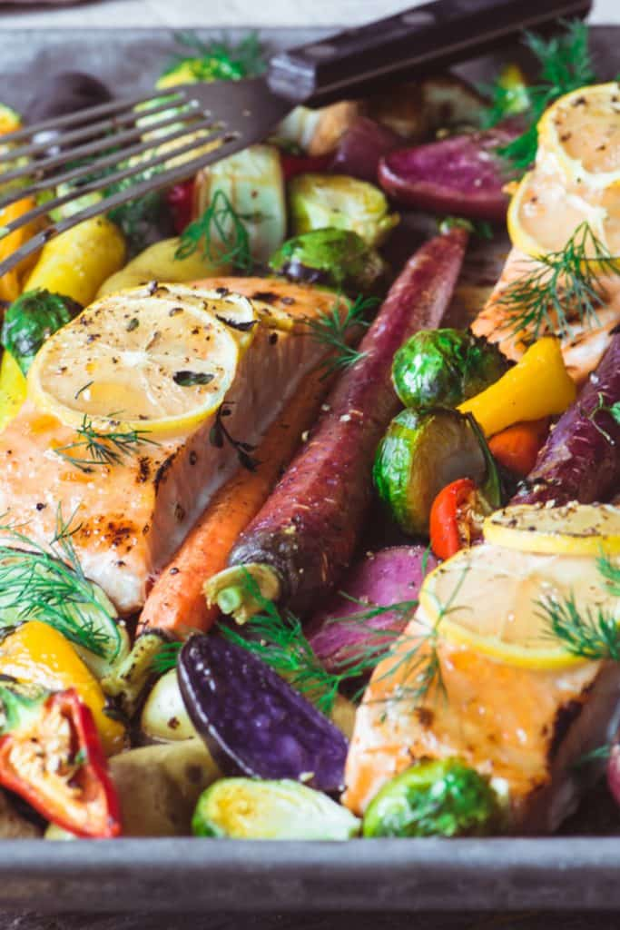 SHEET PAN SALMON WITH CARAMELIZED VEGETABLES
