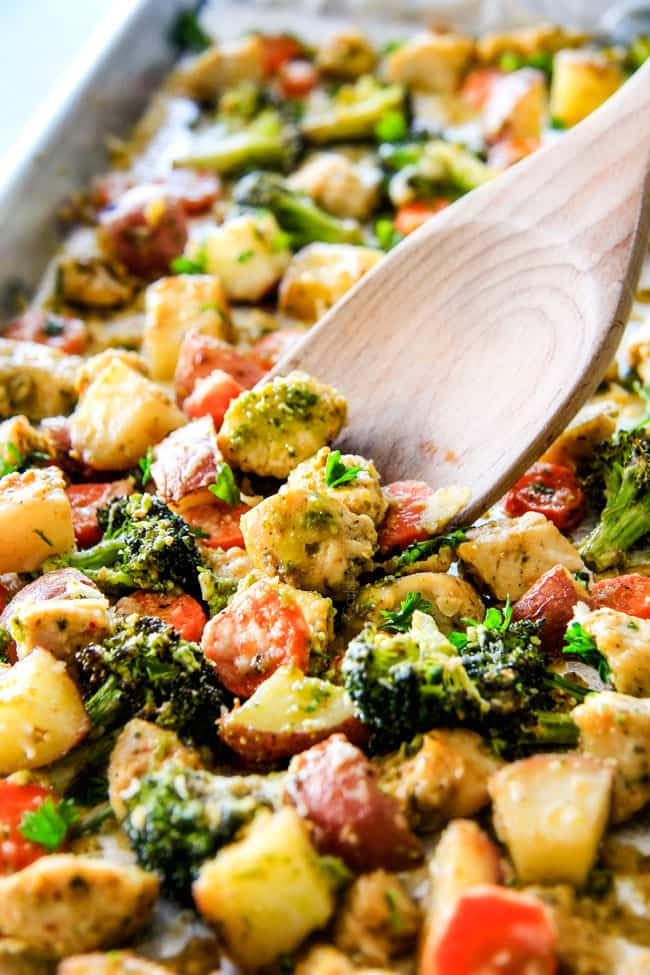 EASY SHEET PAN PARMESAN PESTO CHICKEN & VEGETABLES