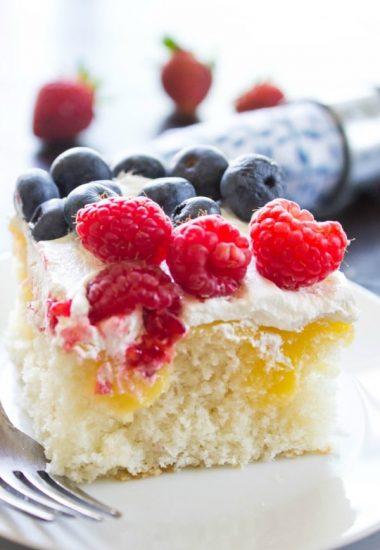 Lemon Berry Poke Cake