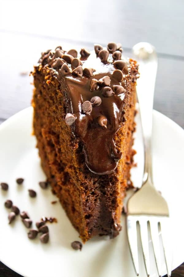 TRIPLE CHOCOLATE PUMPKIN CAKE a rich chocolate pumpkin cake topped with ganache glaze and chocolate chips, insanely delicious and perfect for the holidays.