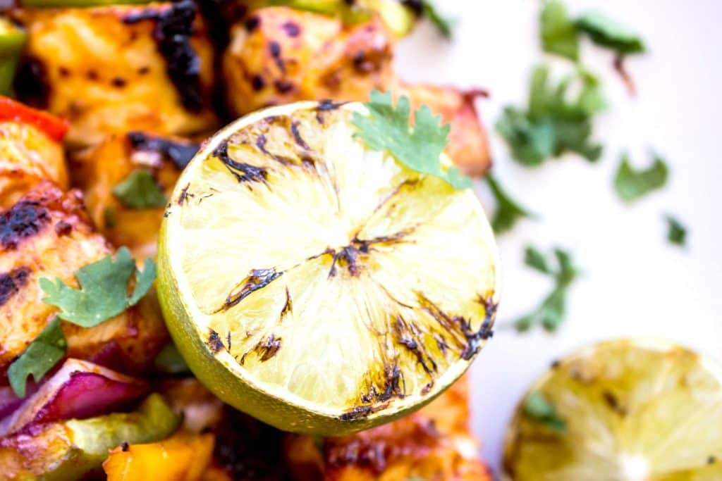 SOUTHWESTERN BARBECUE CHICKEN KABOBS grilled lime on kabobs