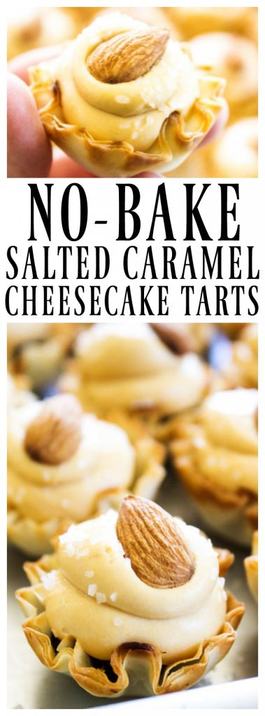 Deliciously easy no bake recipe that is perfect for the holidays whip up these NO BAKE SALTED CARAMEL CHEESECAKE TARTS.