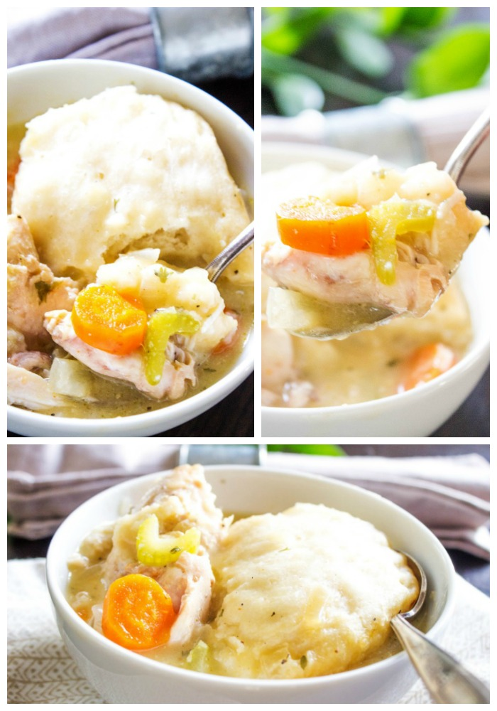 SLOW COOKER CHICKEN & DUMPLINGS - A deliciously easy twist on a classic. Fresh vegetables, chicken and simplified dumplings it will be an instant hit.