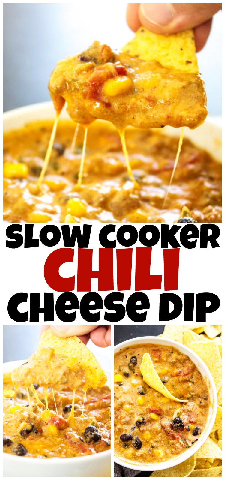 chili queso with chip dipping