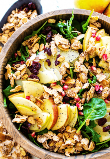 SPINACH SALAD WITH APPLES, PEARS, CRANBERRIES & CANDIED ALMONDS