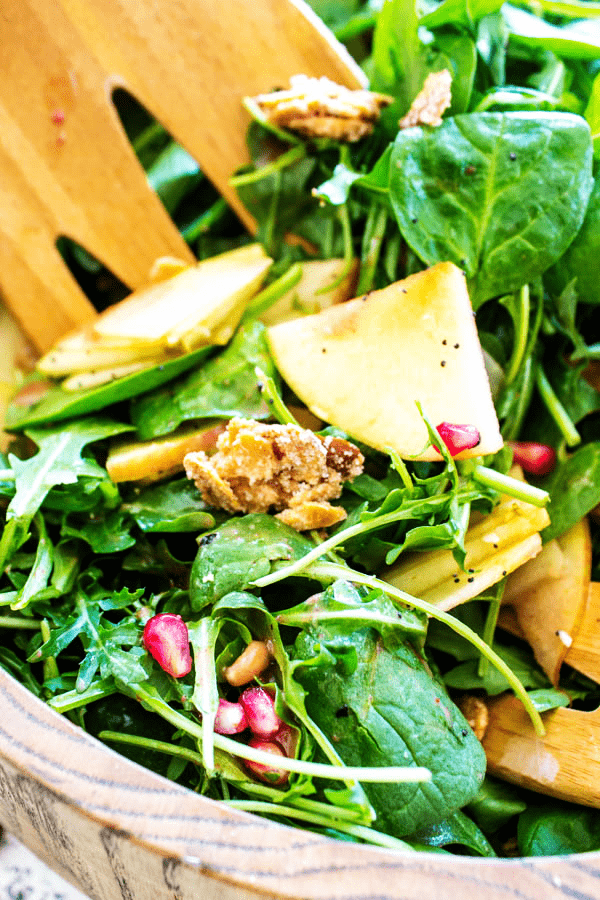 Making this Spinach Pear Salad is so easy to throw together and make for a large crowd.