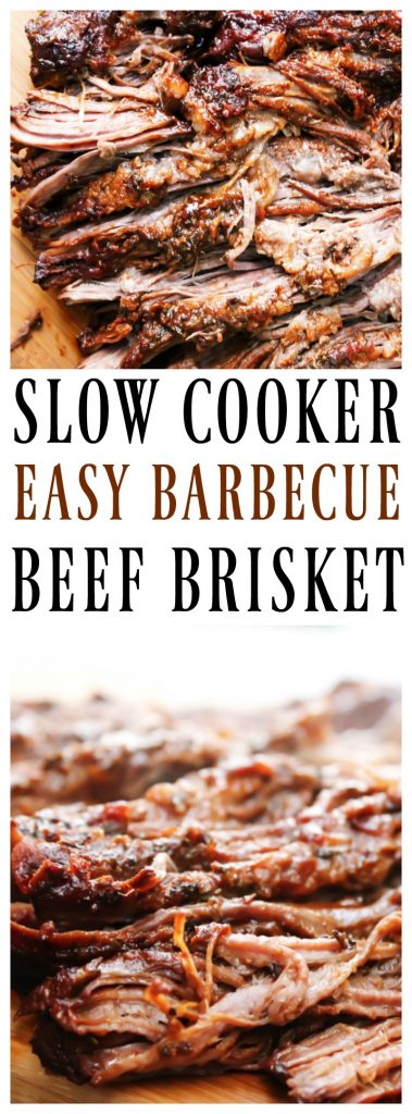 EASY BARBECUE BEEF BRISKET -  a mouthwatering brisket rubbed with spices and liquid smoke. Cooked in a slow cooker until tender and juicy, then served and devoured.