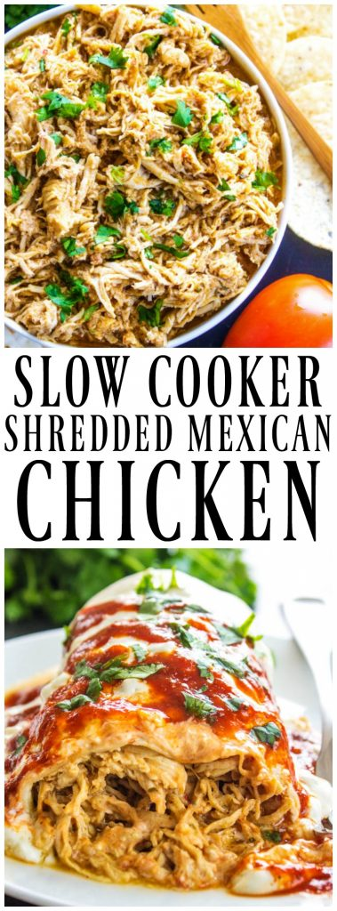 SLOW COOKER MEXICAN SHREDDED CHICKEN is simple, versatile and insanely delicious. Wrap it up, smother it in cheese and devour it.