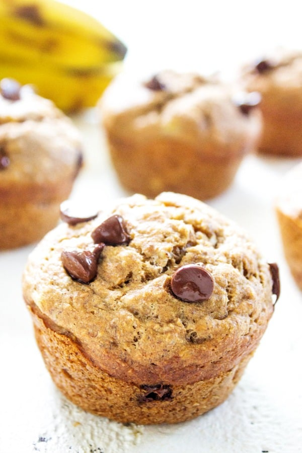 Easy, delicious & healthy these {HEALTHIER} BANANA CHOCOLATE CHIP MUFFINS are ready in 30 minutes making a great breakfast or snack.