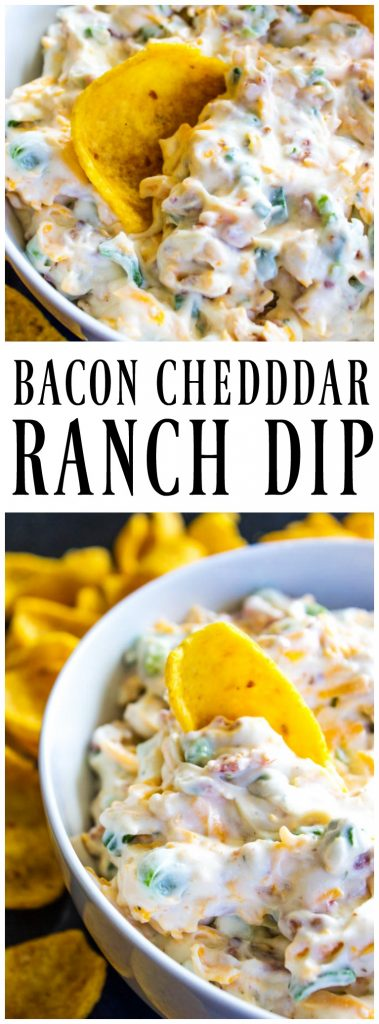 BACON CHEDDAR RANCH DIP - Easy to throw together & addictive. This dip is loaded with bacon, cheddar cheese & ranch, all the fixings of awesomeness.