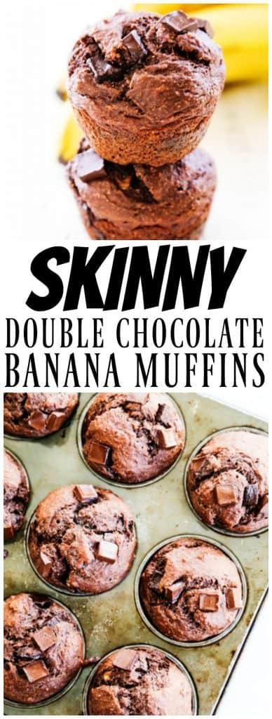 SKINNY DOUBLE CHOCOLATE BANANA MUFFINS - Made with whole grains, flax seed, Greek yogurt and dark chocolate, you will love this healthier delicious treat.