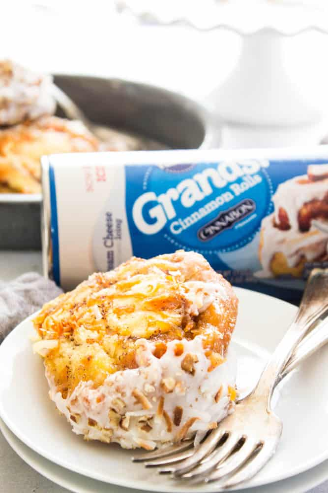 cream cheese icing, cake plate, carrots, coconut, pecan, cinnamon rolls, Pillsbury Cinnamon Rolls, Pillsbury Grand